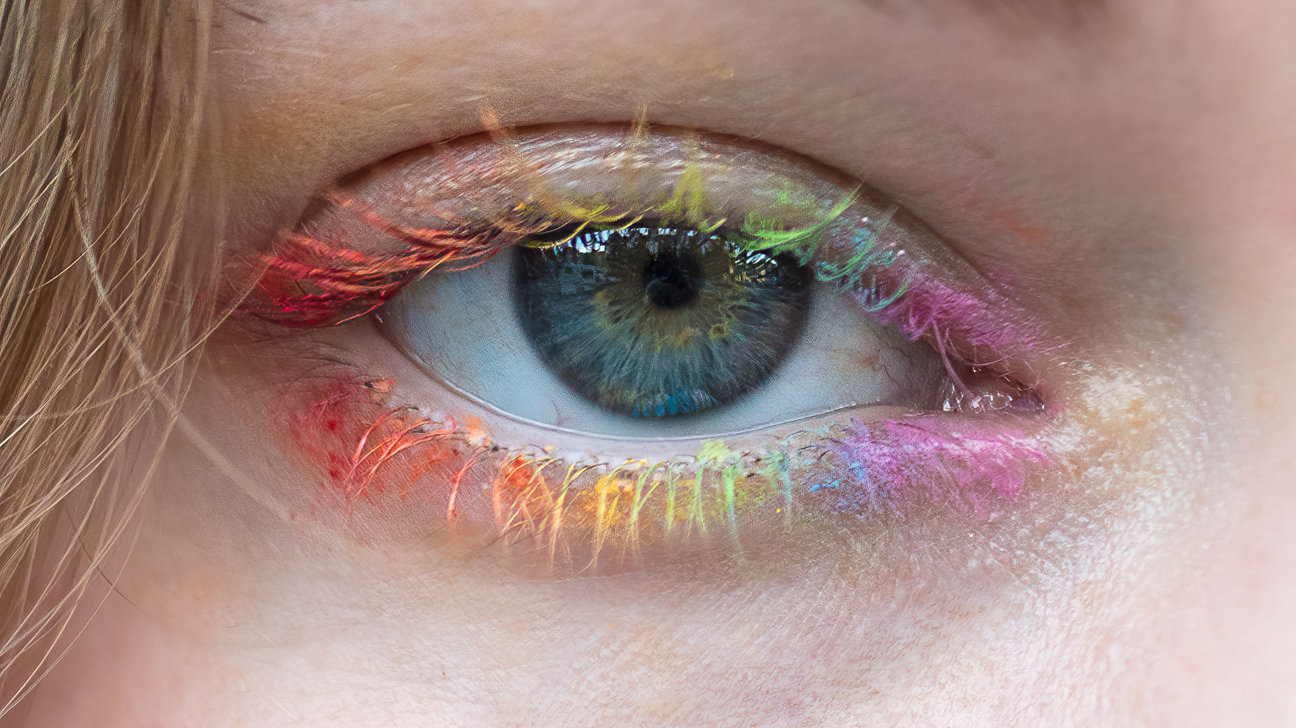 San Francisco beauty photographer - rainbow eye makeup