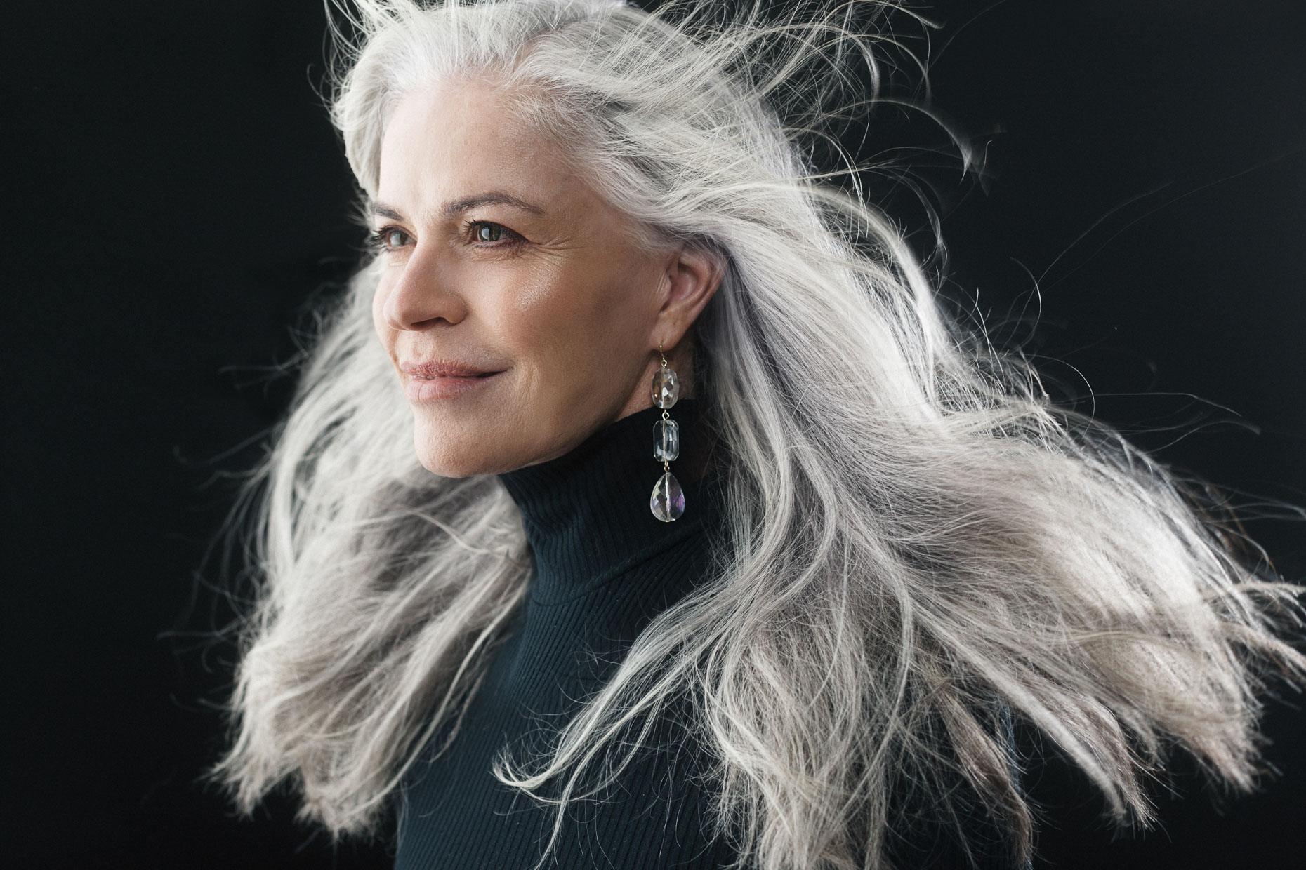 San Francisco portrait photographer - woman with long flowing grey hair.